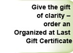 gift certificate for organizing services